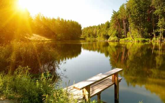 summer, река, landscape