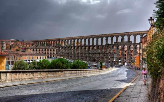 испания, segovia, улица, акведук, дорога, roman, здания, дома,