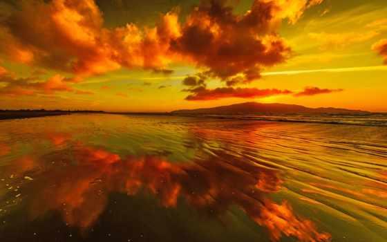 закат, золотистый, desktop, ocean, отпадные, images, mountains, небо, clouds, пейзажи -,
