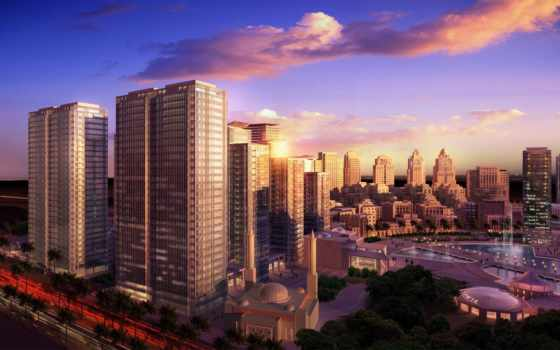 architectural, город, модель, города, небоскребы, со, закат,