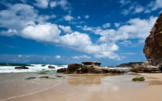 пляж, небо, пещера
