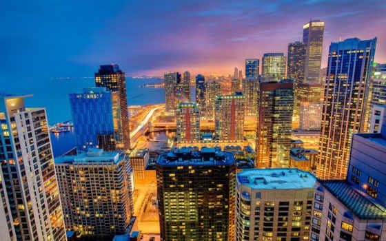 chicago, город, usa, небоскребы, иллинойс, города, ночь, картинка,