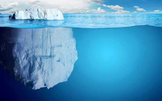 glacier, водой, со