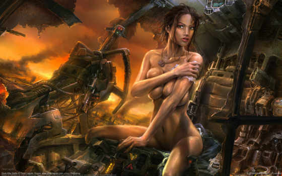рисунок, роботы, битва, babe, women, голая, dirt, дым, flexywall, сексуальные, devushki,