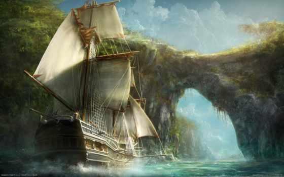 корабли, корабль, sailboat, красивые, море, fone, скалы, арку,