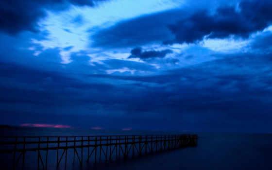 море, ночное, pier, уходящий, небо, разрешениях, разных,