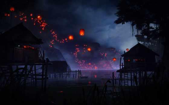 lantern, китаянка, flying, заставка, туман, река, над, telephone, red