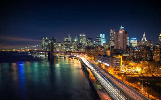 город, ночь, огни, country, мост