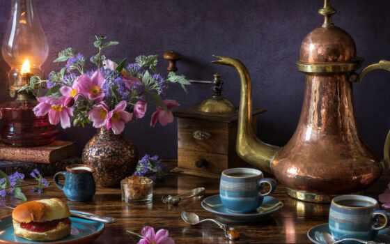 flore, teacup, teter, mac, lampe, fond, parede, ainda, вида, lámpara, pan