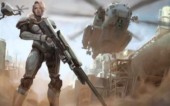 art, солдат, futuristic, воин, scus, женщина, характер, robot, череп, взгляд, комментарий