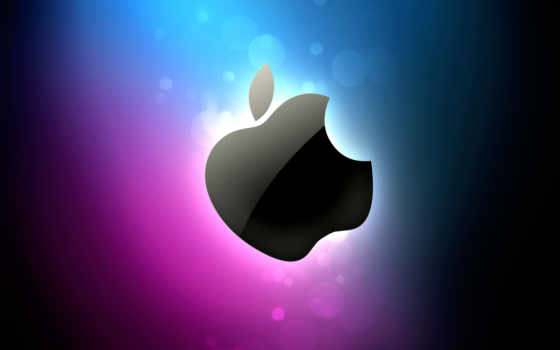 black apple on blue & purple