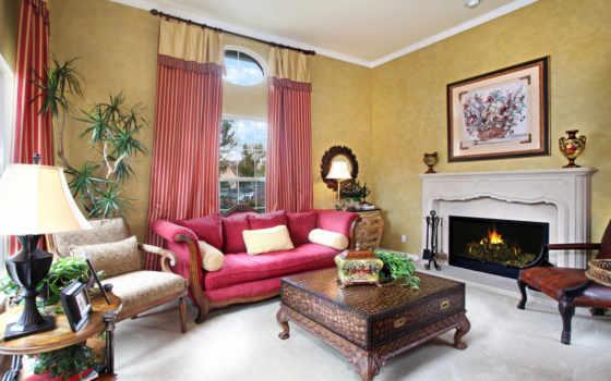 гостиной, интерьер, design, маленькой, интерьера, интерьере, камином, камин,