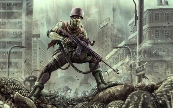 наемник, art, монстры, убийца, солдат, винтовка, deviantart, war, badillafloyd, concept,