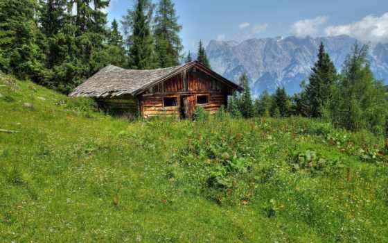горы, заставки, trees, альпы, сайте, windows, нашем, lodge, природа, фотографий, трава,