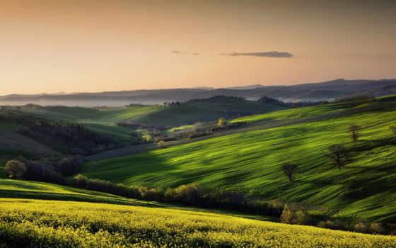 небо, поле, landscape, природы, italia, margin, marche, paesaggio,