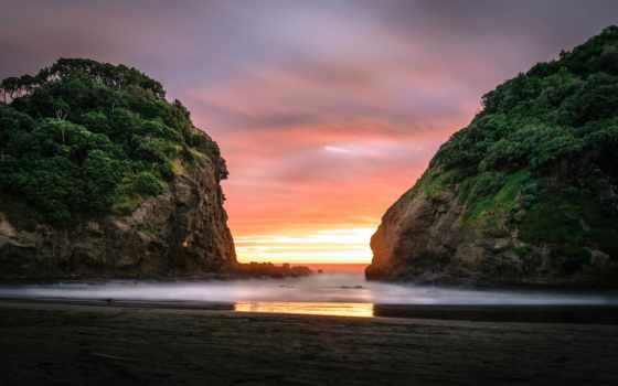 пляж, bethells, auckland, рассвет, ocean, картинка, rocks, скалы,
