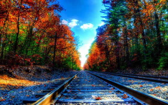 дорога, железная, осень, рельсы, шпалы, листва, trees,