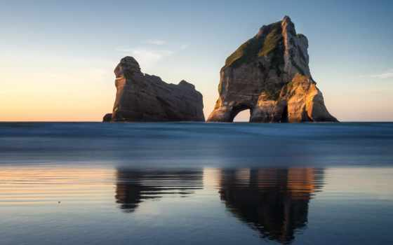 пляж, islands, wharariki, new, фото, количество, archway,