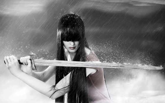 катана, меч, девушка, серый,