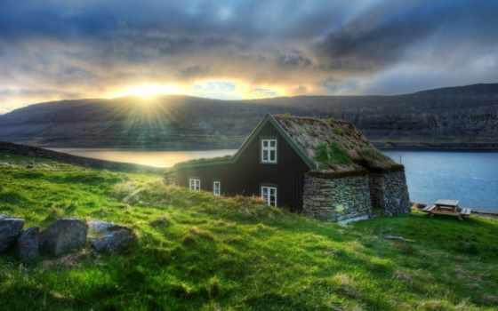 house, iceland, озеро, горы, озера, sun, reykjavik, закат, утро, горах,
