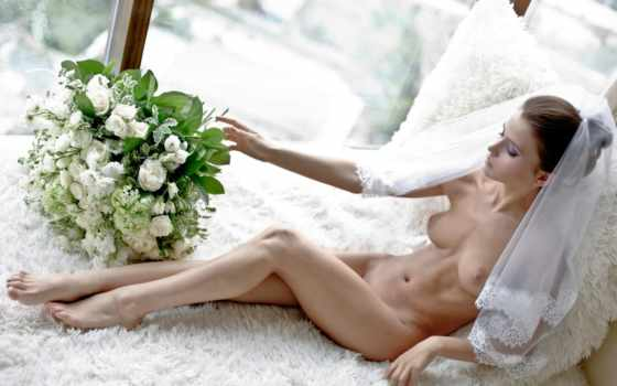 flowers, bride, naked