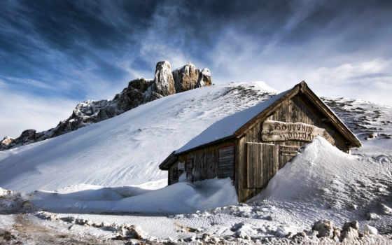 дом, снег