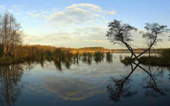 река, trees, есть, тег, landscape, небо, всех, которых, закат, берега,