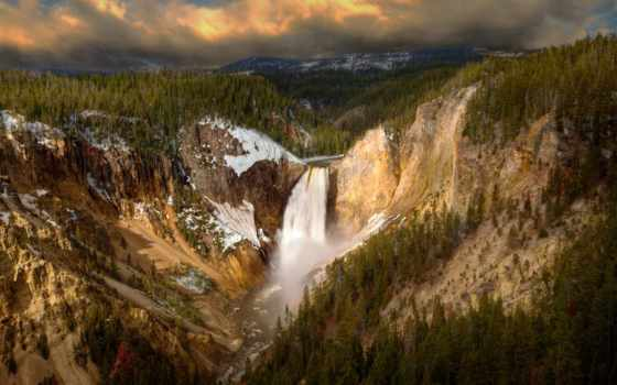 falls, yellowstone, park, national, lower, waterfalls, каньон, grand, wyoming, водопад,