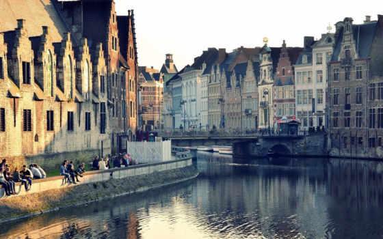 город, бельгия, ghent, дома, отражение, здания, water,