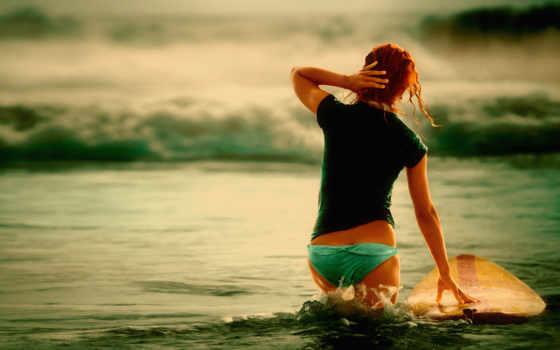 девушка, рыжая, red, спины, море, серфинга, сёрфинг, devushki, комнате, диван,