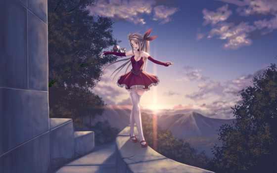 anime, девушка, красном