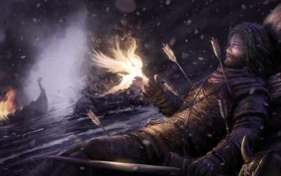 fantasy, рыцарь, уставший,