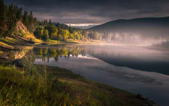 хороший, narrow, туман, loch, гора, красивый