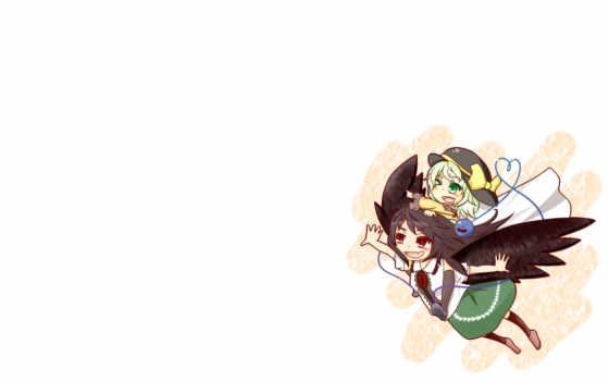 anime, utsuho, mikami, koishi, komeiji, reiuji, wings, touhou, fantasy,