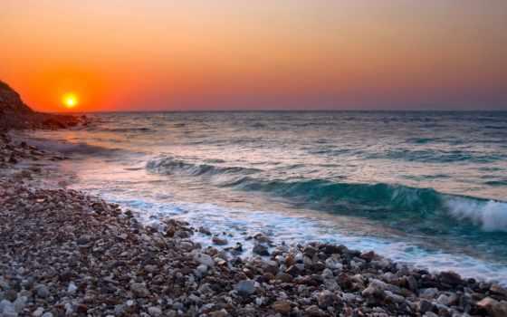 море, галька, закат