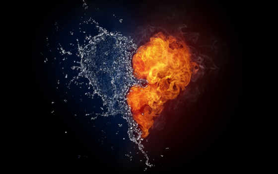 cool, сердце, огонь