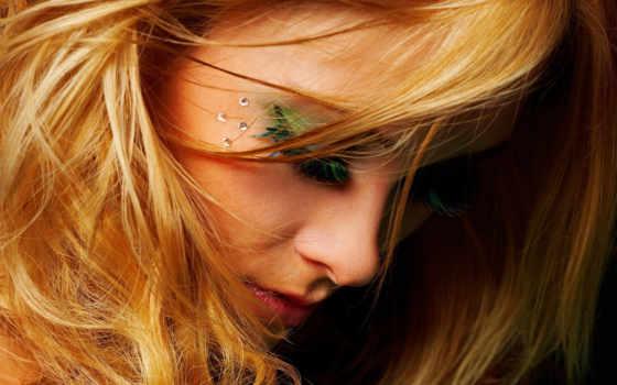 девушка, blonde, ресницы