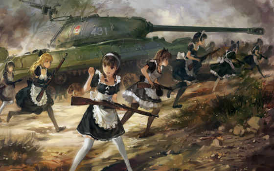 anime, танк, art, hjl, svoya, атмосфера, devushki,