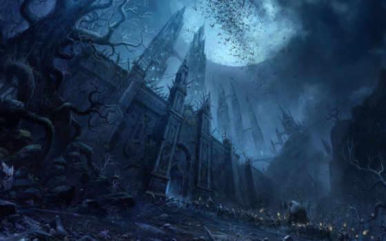 castle, fantasy, луна