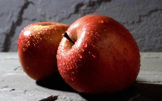 apple, еда, капли