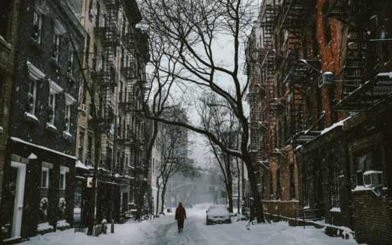 город, снег, улица,