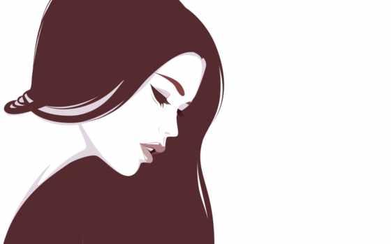 девушка, вектор, лицо, profile, волосы, длинные, devushki, губы, фотографий, заставки,