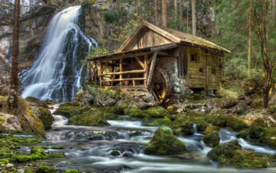 agua, molino, paisaje, ро, cascada, pinterest, кабина, fondos, pictures, pantalla,