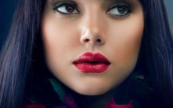 помаде, красной, red, красная, помады, губы, помадой, губная, roses, макияж,
