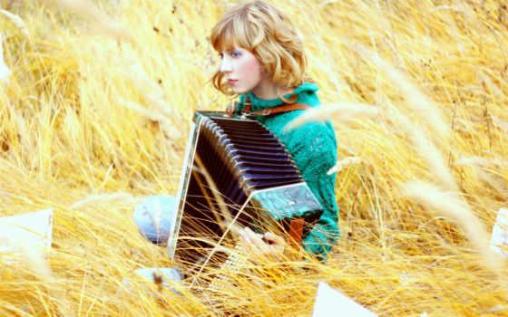 девушка, bayan, поле, трава, музыка, blonde, солома,