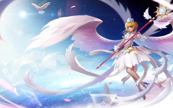 Сакура, cardcaptor, kinomoto, wings, anime, card, посох,