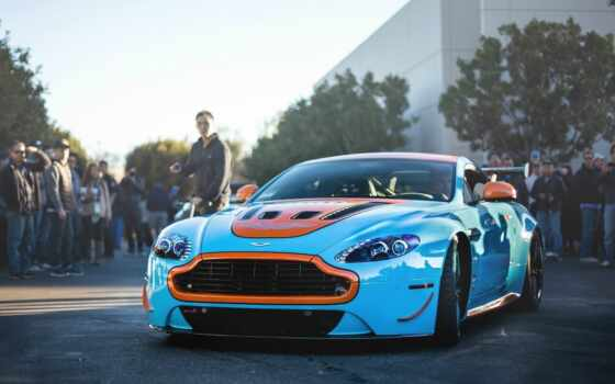 car, martin, aston, авто, оранжевый, race, blue, sports