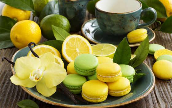 еда, орхидеи, cookies, табличка, лимоны, макарон, выпечка, макаруны,