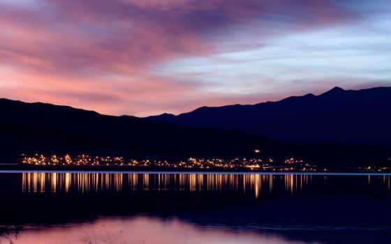 закат, горы, вечер