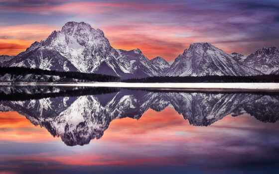 grand, teton, park, national, moran, mt, отражение, wyoming, mount,
